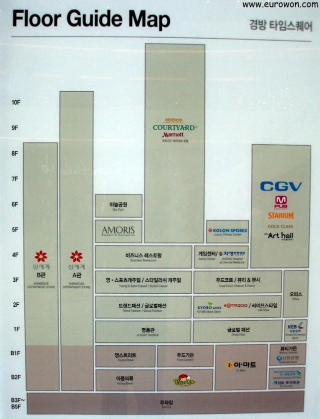 Esquema de edificios y plantas del Times Square de Seúl