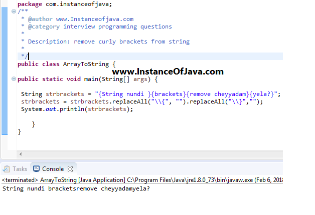 How to remove square brackets from string in java - InstanceOfJava
