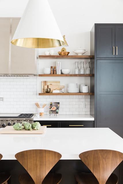 Modern farmhouse style kitchen with white subway tile in mountain urban minimal interior design room