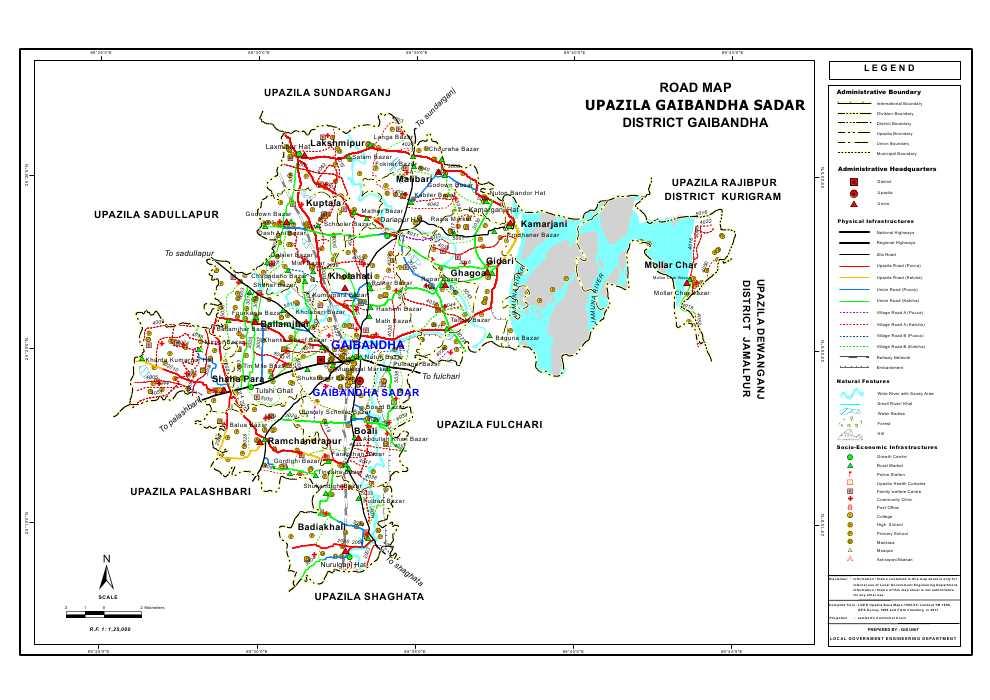Gaibandha Sadar Upazila Road Map Gaibandha District Bangladesh