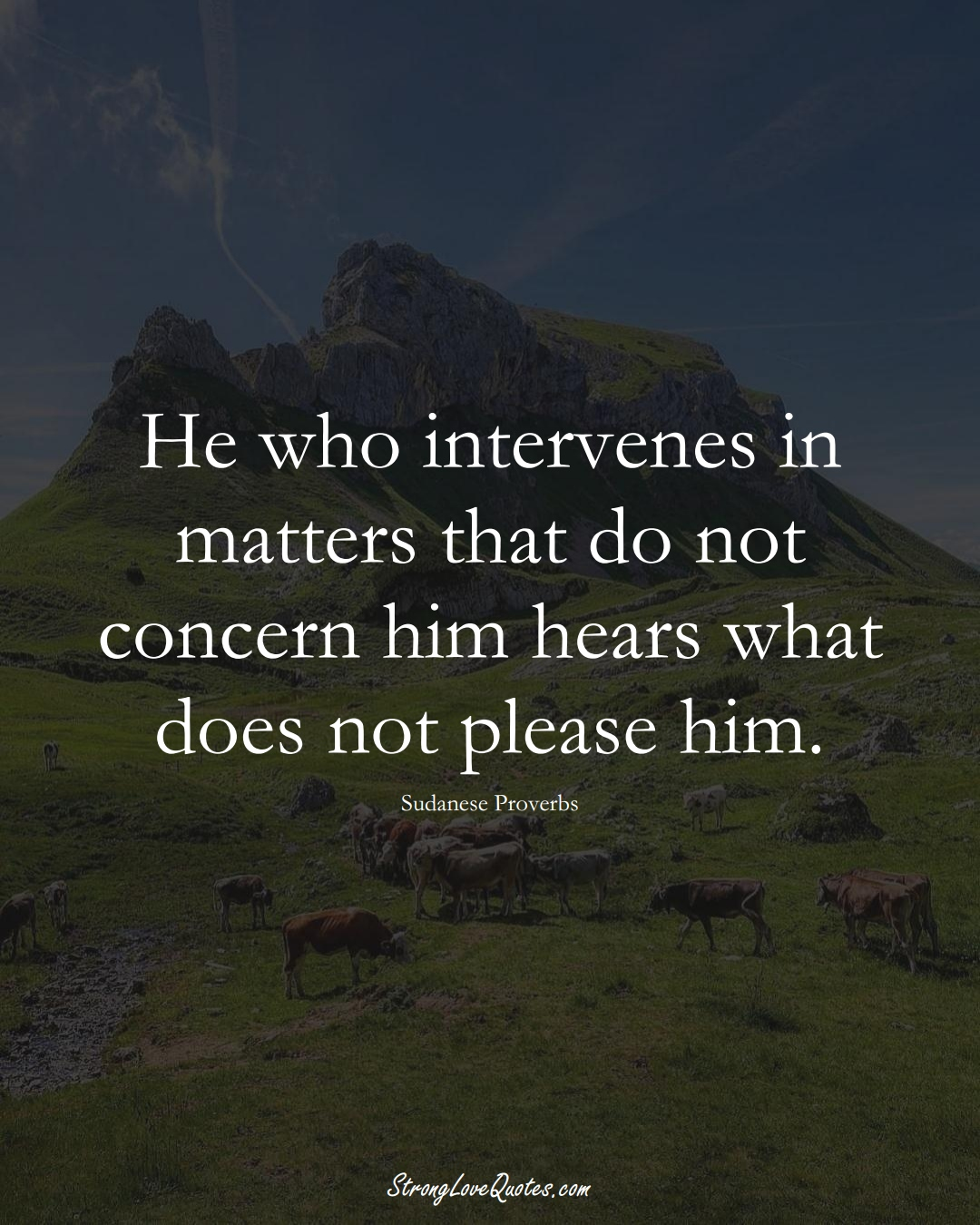 He who intervenes in matters that do not concern him hears what does not please him. (Sudanese Sayings);  #AfricanSayings