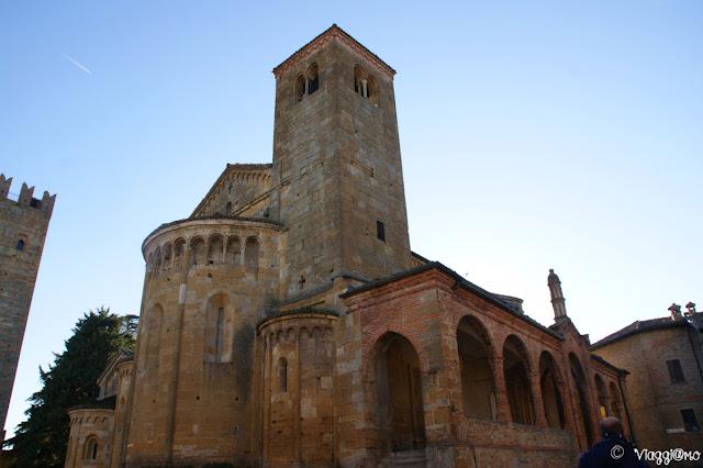 Facciata della Collegiata, la chiesa principale di Castell'Arquato