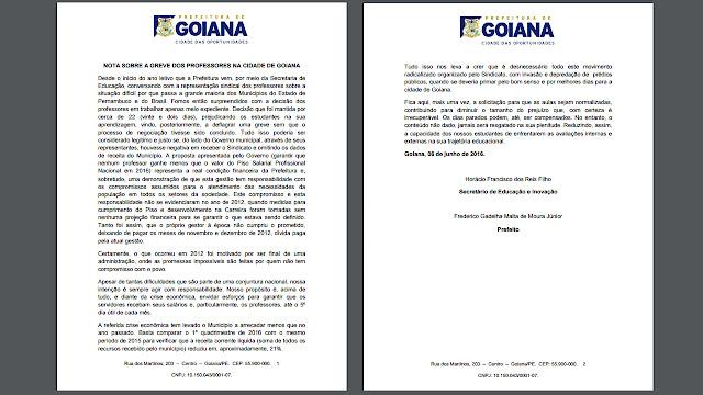 Prefeitura emite nota oficial sobre Greve dos Professores
