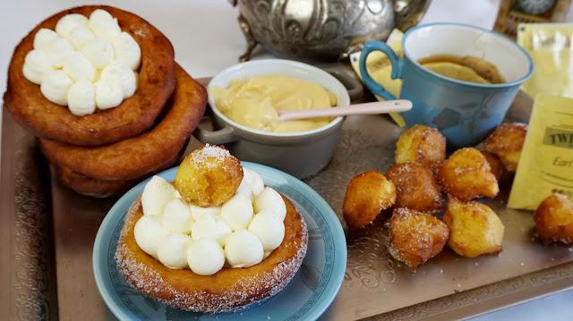 tartaletas de buñuelos con crema de chocolate blanco y Earl Grey