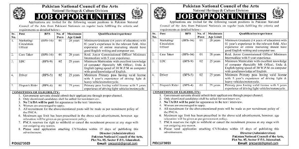Latest Pakistan National Council of Arts PNCA Jobs 2020 for Marketing Officer, Circulation Officer, Care Taker, LDC, Lower Division Clerk, Clerk, Driver, LTV Driver and Dispatch Rider
