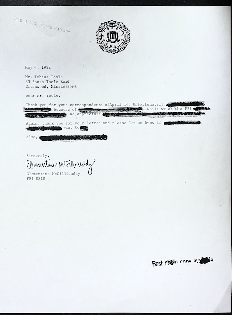Fake redacted letter from Clementine to Tobias. All you can read is thank you for your correspondence of april 14 unfortunately because of while we at the FBI we appreciate again thank you for your letter and please let us know if want to also sincerely