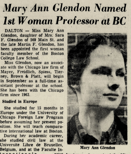 """Newspaper clip titled """"1st Woman Professor at BC."""" Includes a photo of Mary Ann Glendon."""