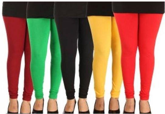 Women's Solid Leggings Set Of 5