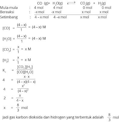 contoh menghitung zat yang terbentuk pada reaksi kesetimbangan