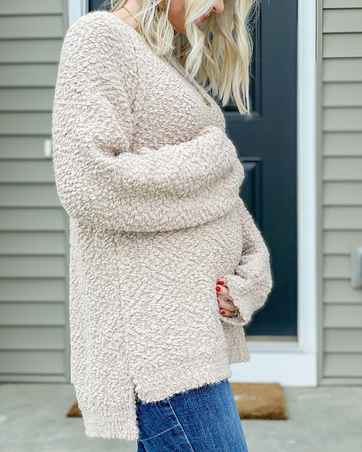 Before the Bump Style- Popcorn Knit Sweater from PinkBlush