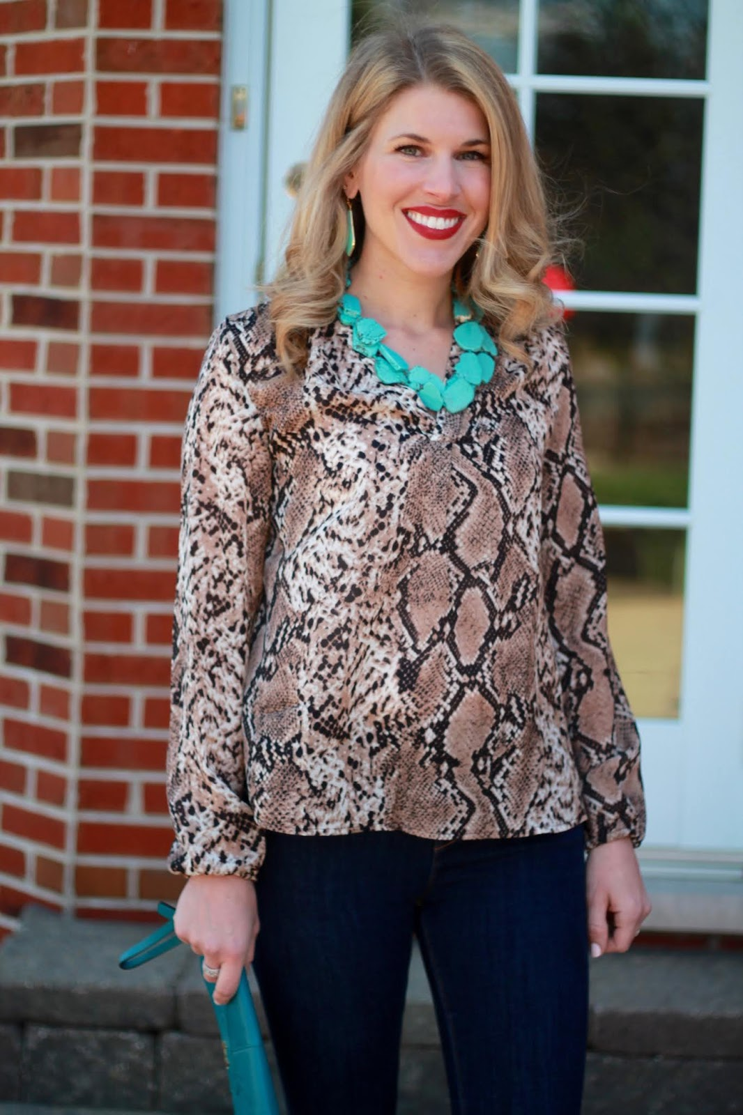 snakeskin blouse, turquoise accessories, grey peep toe booties