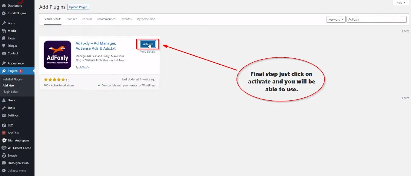 AdFoxly-WordPress-Plugin-activate