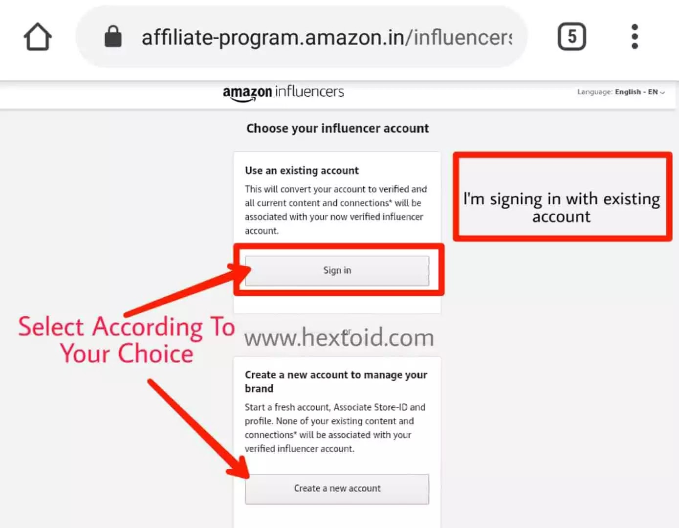 Sign in with affiliate account