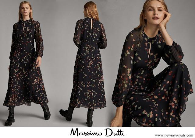 Queen Letizia wore Massimo Dutti confetti print shirt dress