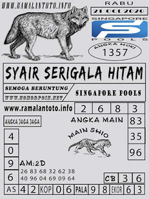 Kode syair Singapore Rabu 21 Oktober 2020 147