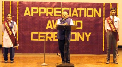 Ashwini Kumar, the secretary, Shri Kundan Lal Trust, addressing the audience