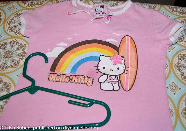 Outgrown tshirt for a DIY Clothespin bag.