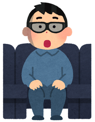 3D映画を観る人のイラスト(男性)