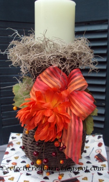 Eclectic Red Barn: Decorated Wicker Vase for Fall