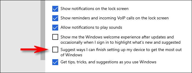 """في إعدادات Windows ، قم بإلغاء تحديد """"اقتراح طرق يمكنني من خلالها إنهاء إعداد جهازي لتحقيق أقصى استفادة من Windows."""""""