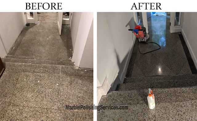Terrazzo flooring restoration before and after NYC