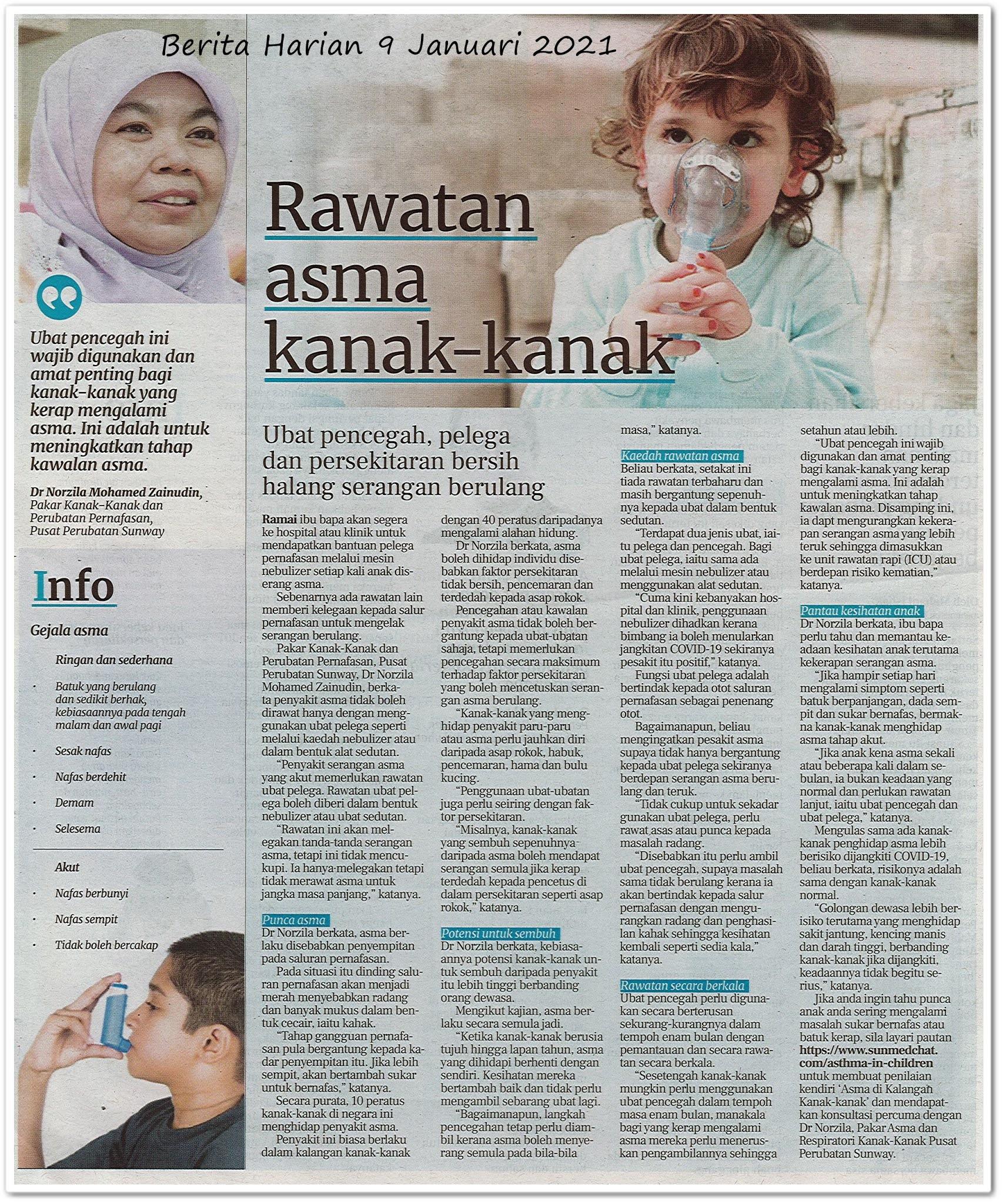 Rawatan asma kanak-kanak - Keratan akhbar Berita Harian 9 Januari 2021