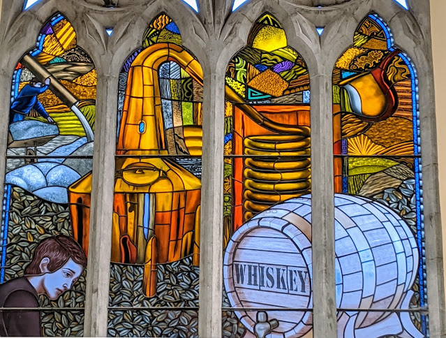 Dublin Hidden Gems: whiskey themed stained glass at Pearse Lyons Distillery