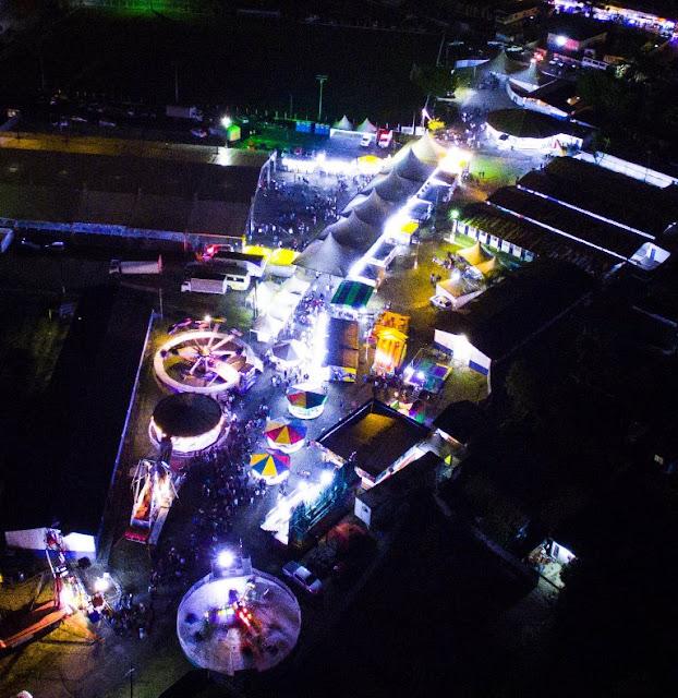 Imagem aérea mostra panorama da estrutura montada para a 28ª Expojac.