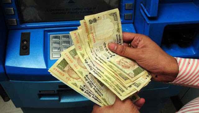 @Govt employees withdrawal 10,000 rs demonetization form atm bank on salary day