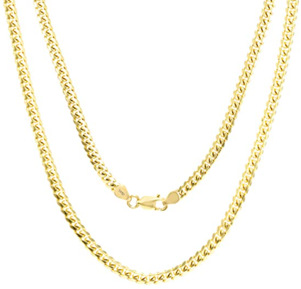 Amazon: Nuragold 14K Yellow Gold 3.5mm Solid Cuban Link Chain Pendant Necklace