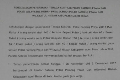 Lowongan Kerja Kontrak di Kabupaten Aceh Besar - Rekrutmen Besar-Besaran