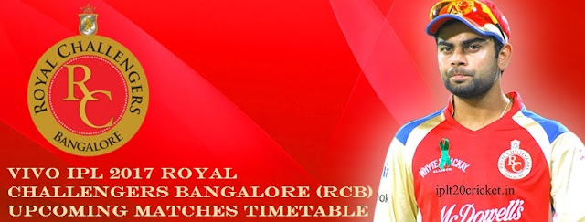 VIVO IPL 2017 ROYAL CHALLENGERS BANGALORE (RCB) UPCOMING MATCHES TIMETABLE