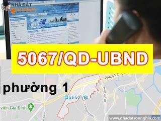 Quyết định số 5067/QĐ-UBND đề án lộ giới đường hẻm tỉ lệ 1/500 Phường 1 quận Gò Vấp