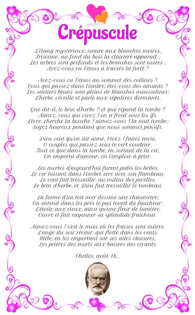 Poème : Crépuscule de Victor Hugo