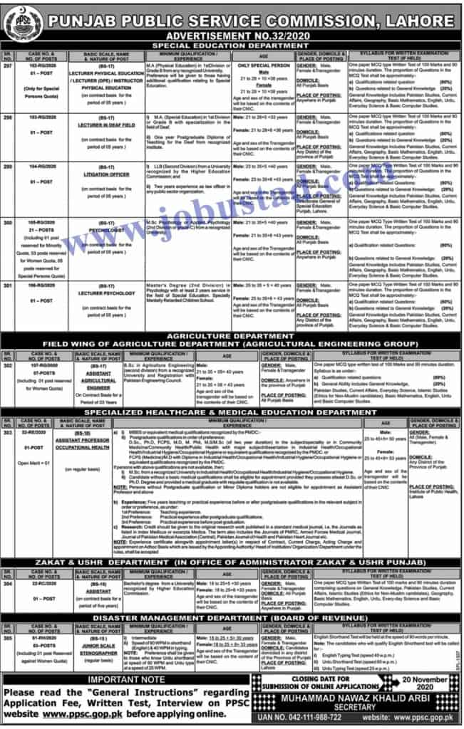 Jobs in Punjab Public Service Commission (PPSC) Nov 2020