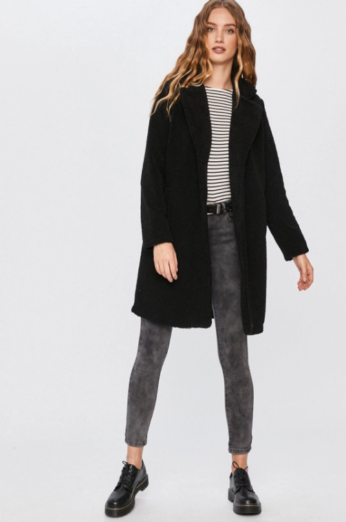 Answear - Palton dama casual negru gros de iarna Reducere