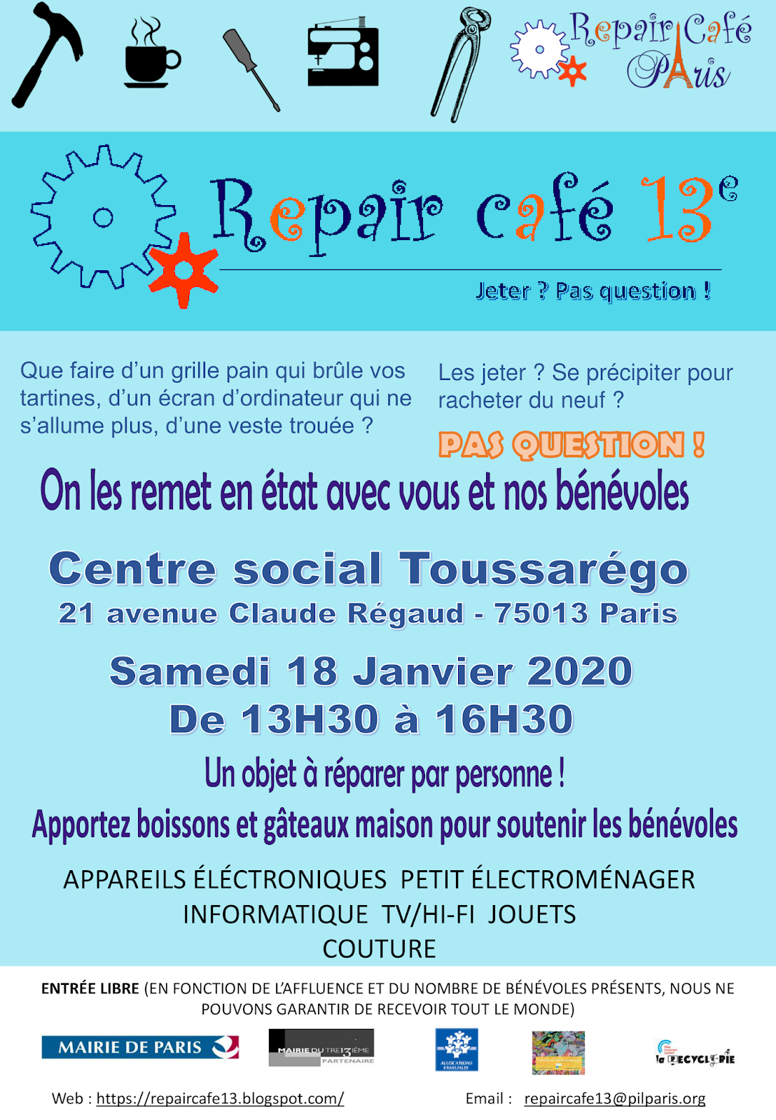 Repair Café Paris Calendrier 2022 Repair café Paris 13ème TOUSSAREGO