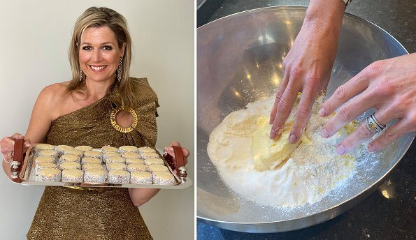Queen Maxima wore a top by Claes Iversen, and a horsebit print silk twill blouse by Gucci. recipe, Alfajores de dulce de lech