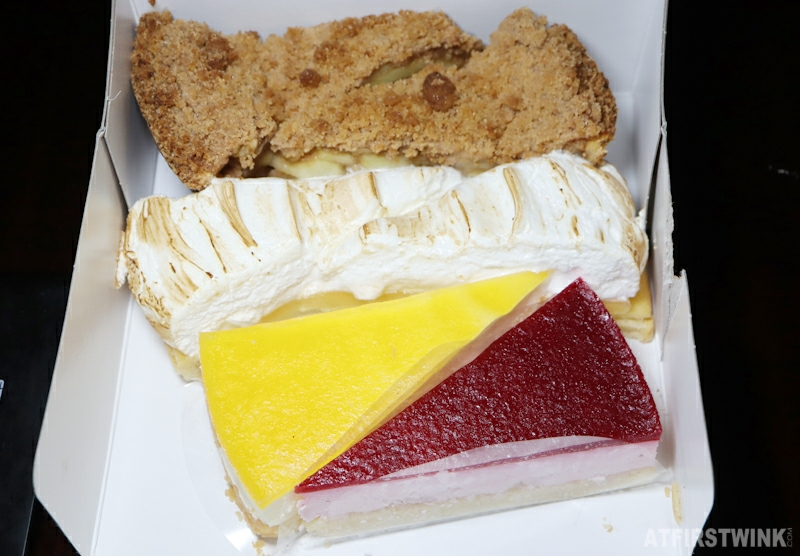 Dudok assorted cake slices lemon meringue raspberry passion fruit apple pie from too good to go app