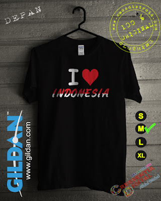 Baju Kaos cinta Indonesia Warna Hitam