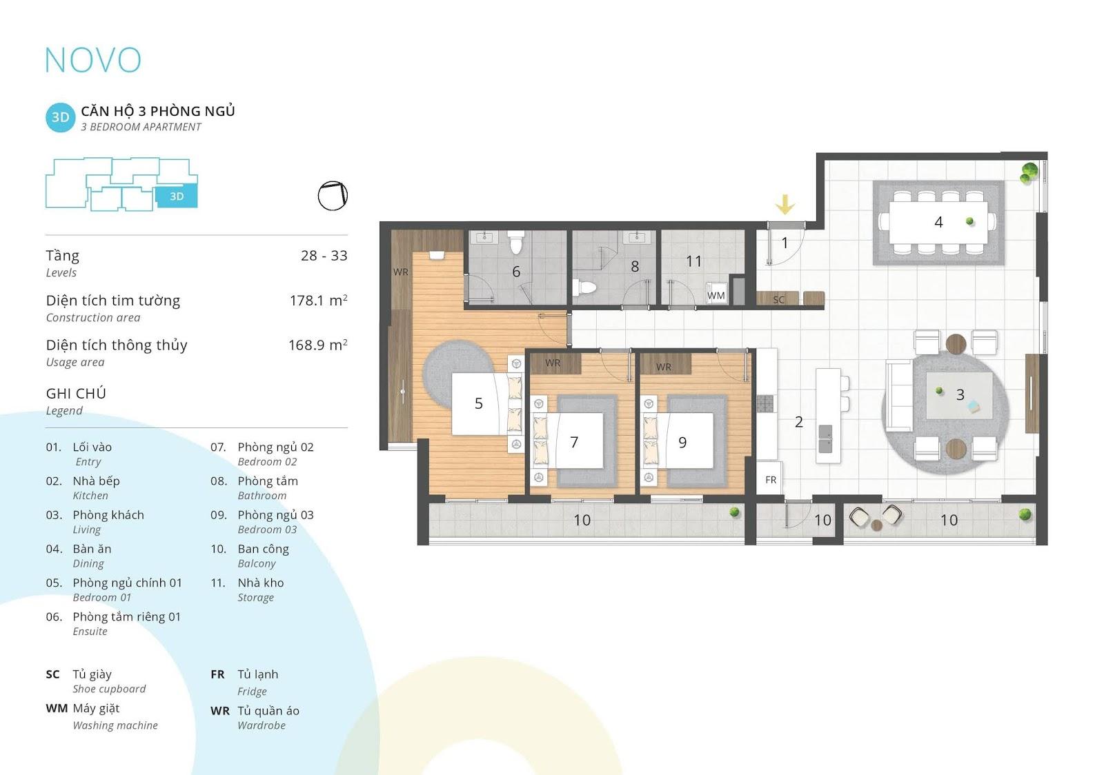 Mặt bằng căn hộ 3 phòng ngủ 168 m2 thông thủy tòa NOVO dự án Kosmo