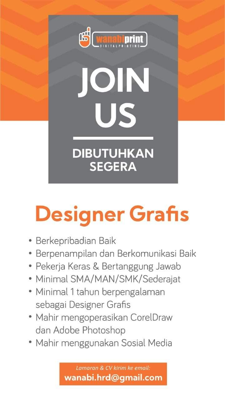Info lowongan Wanabiprint Salatiga Sebagai Designer Grafis