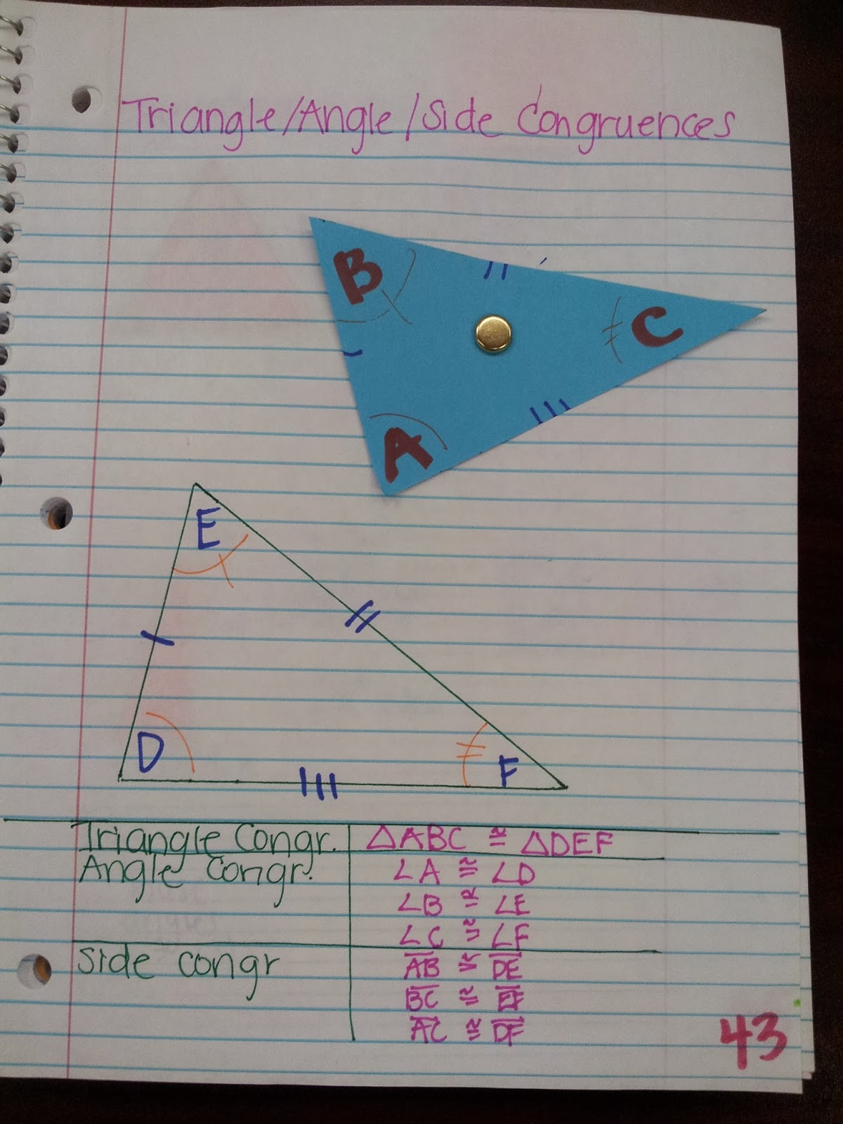 Math By Tori Triangles Writing Congruence Statements