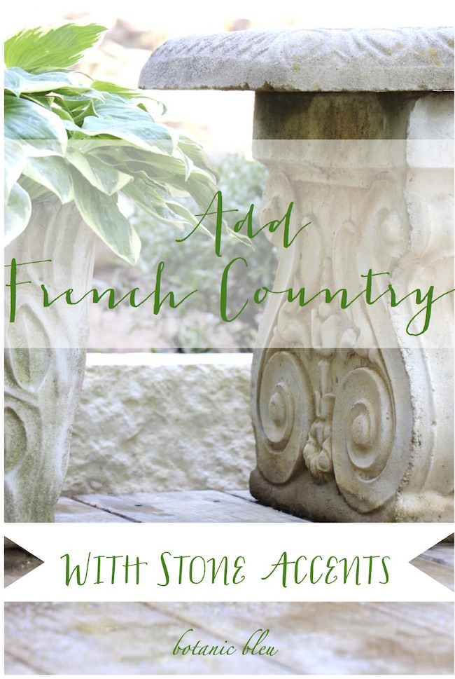 Botanic bleu add french country with stone accents French country stone