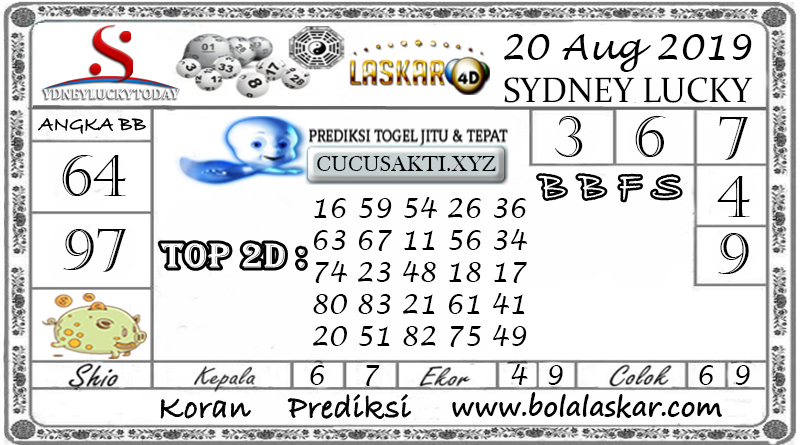 Prediksi Sydney Lucky Today LASKAR4D 20 AGUSTUS 2019