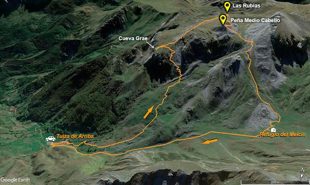 Mapa de la ruta señalizada a los Puertos de Cerreos desde Tuiza de Arriba en el Parque Natural de Ubiñas-la Mesa