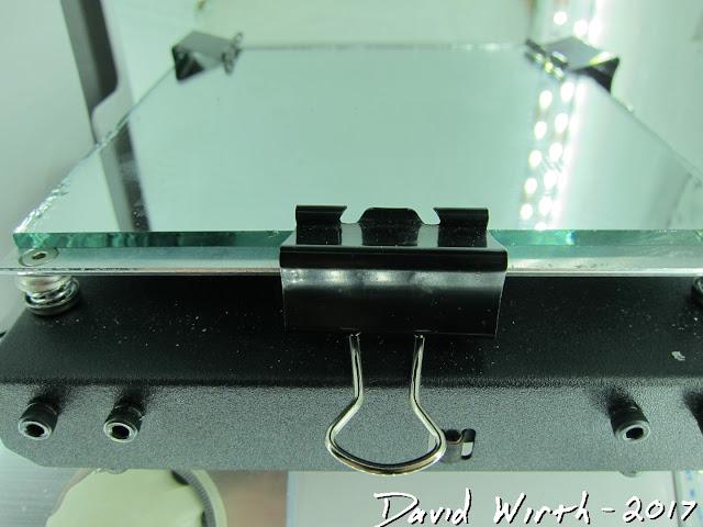 binder clips, glass print bed, 3d printer
