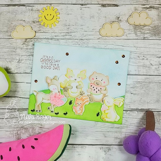 Woodland Picnic Card by Naki Rager | Woodland Picnic Stamp Set by Newton's Nook Designs #newtonsnook #handmade