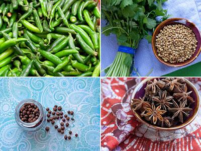 Jalapenos, coriander/cilantro, allspice, star anise