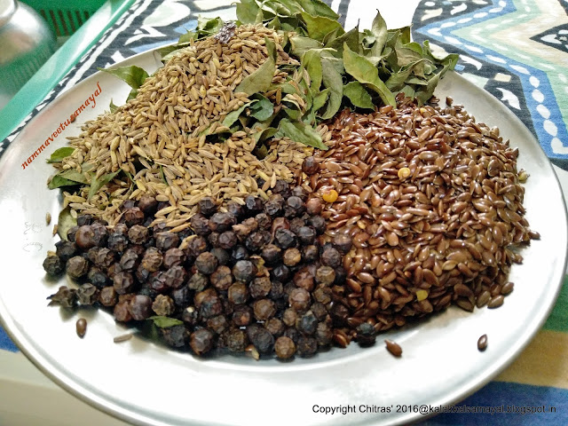 Ingredients for milagu podi with flax